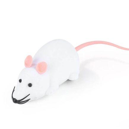 Távirányítós egér – cicajáték Fehér rózsaszín fülekkel